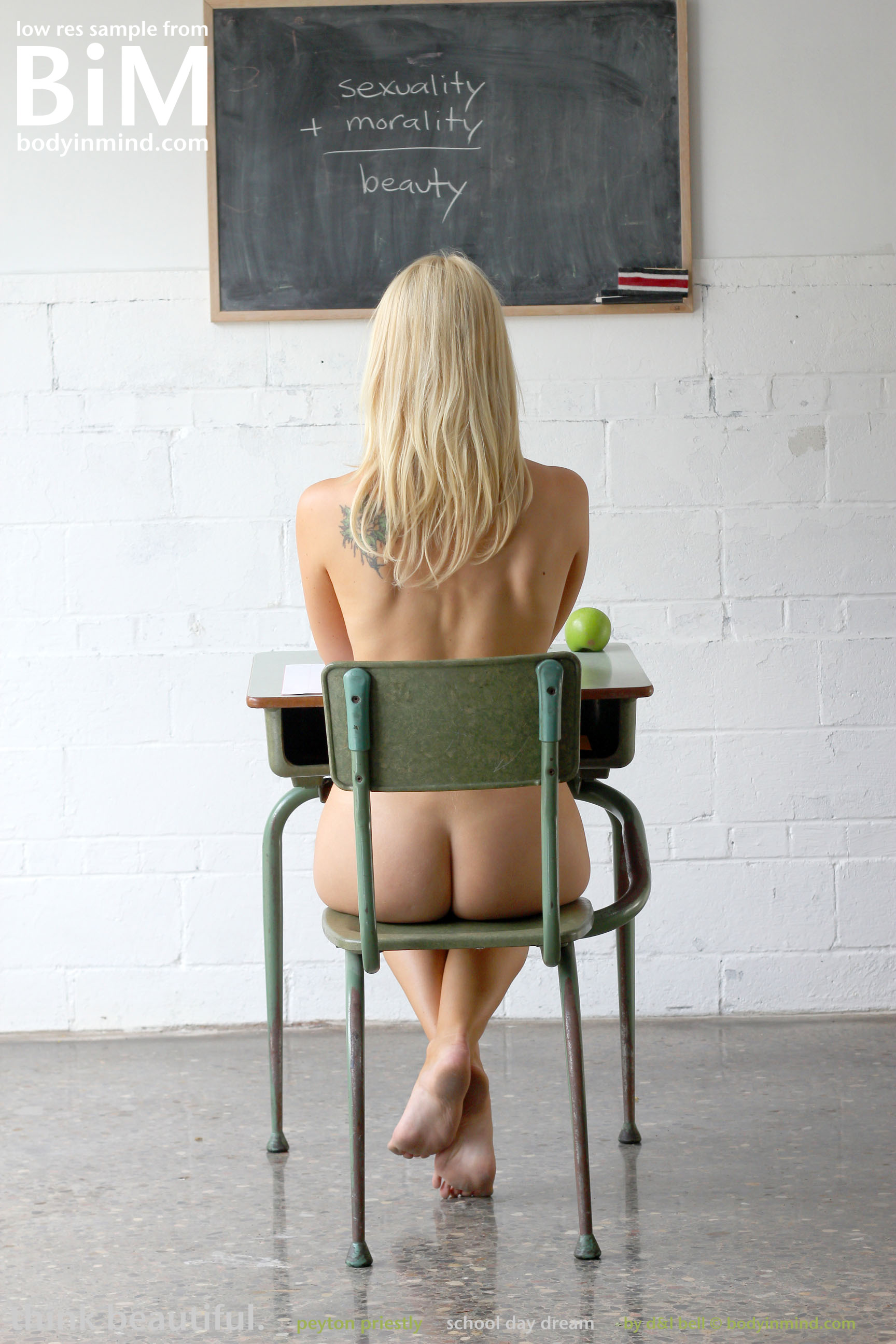 Peyton Priestly, blonde, nude, boobs, ass, desk