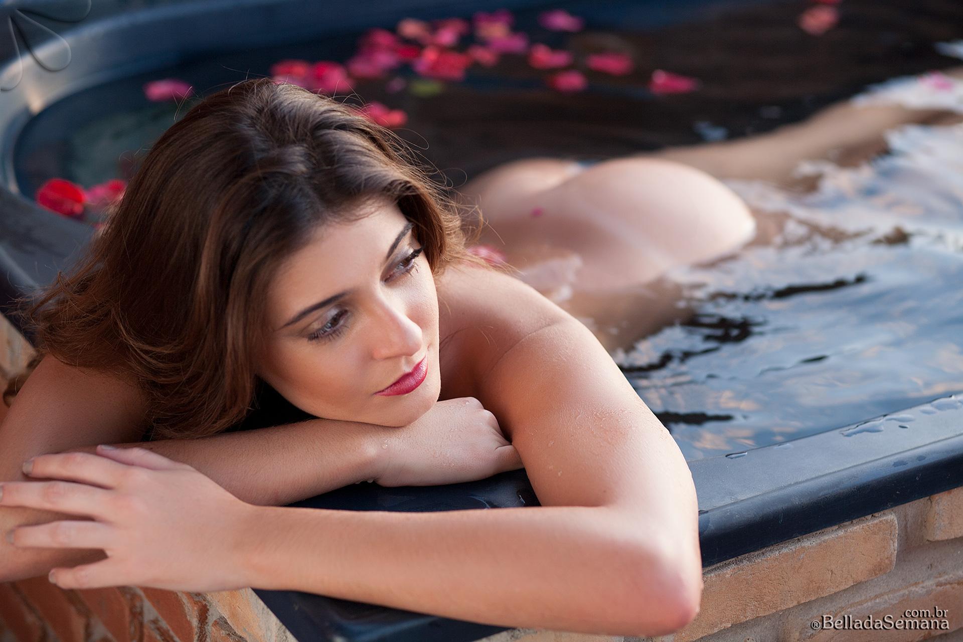 Alana Alexandrino, brunette, strip, topless, busty, bikini