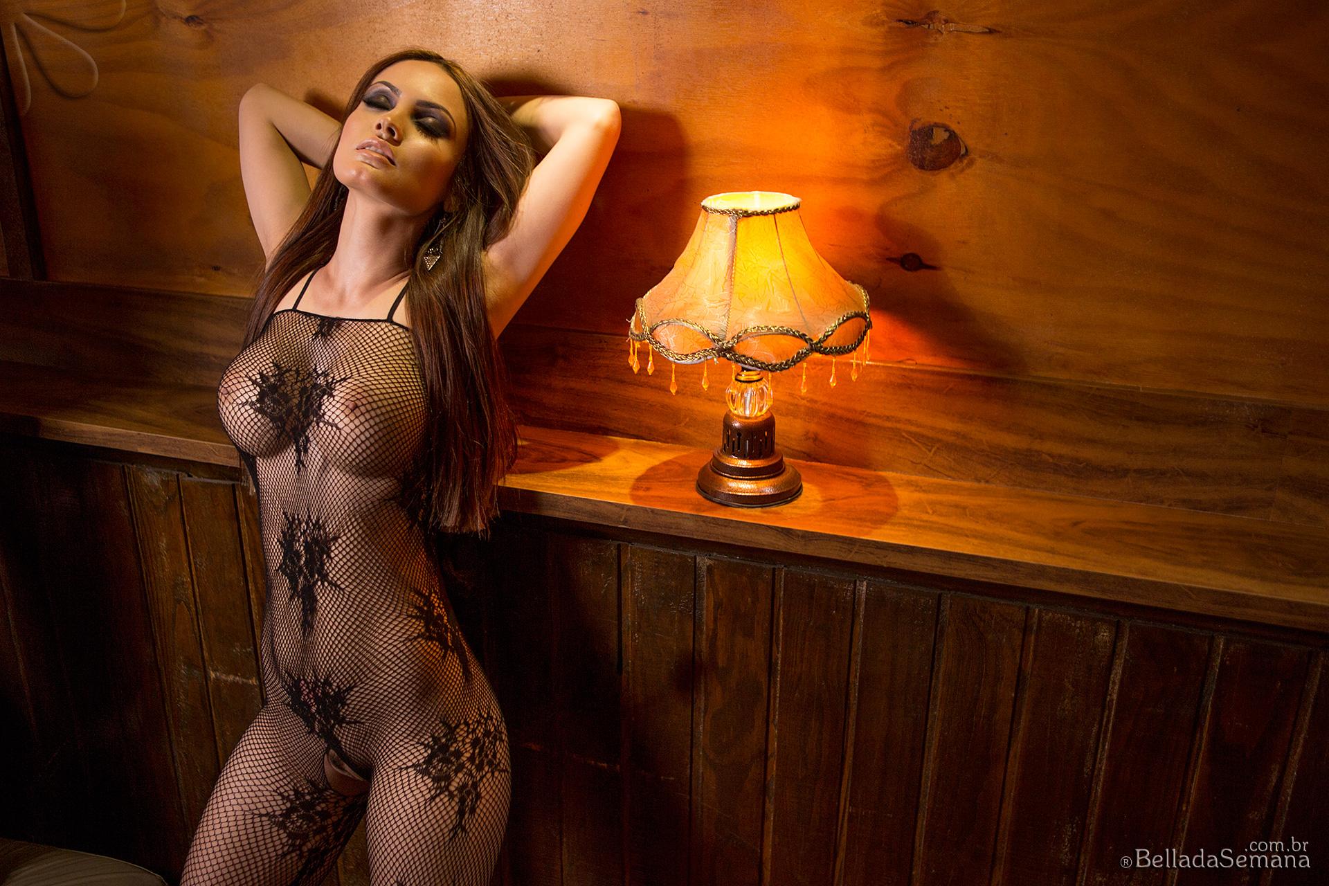 Emanuela Albino, brunette, strip, nude, busty, ass, bodystocking