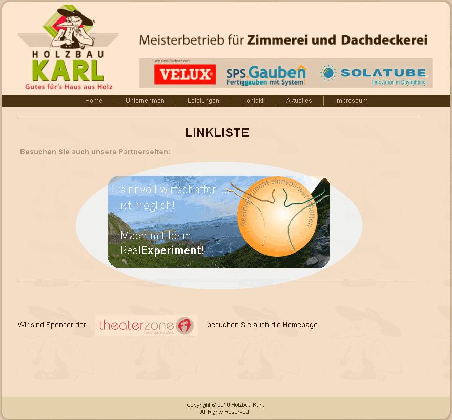Banner auf der Webseite von Holzbau Karl