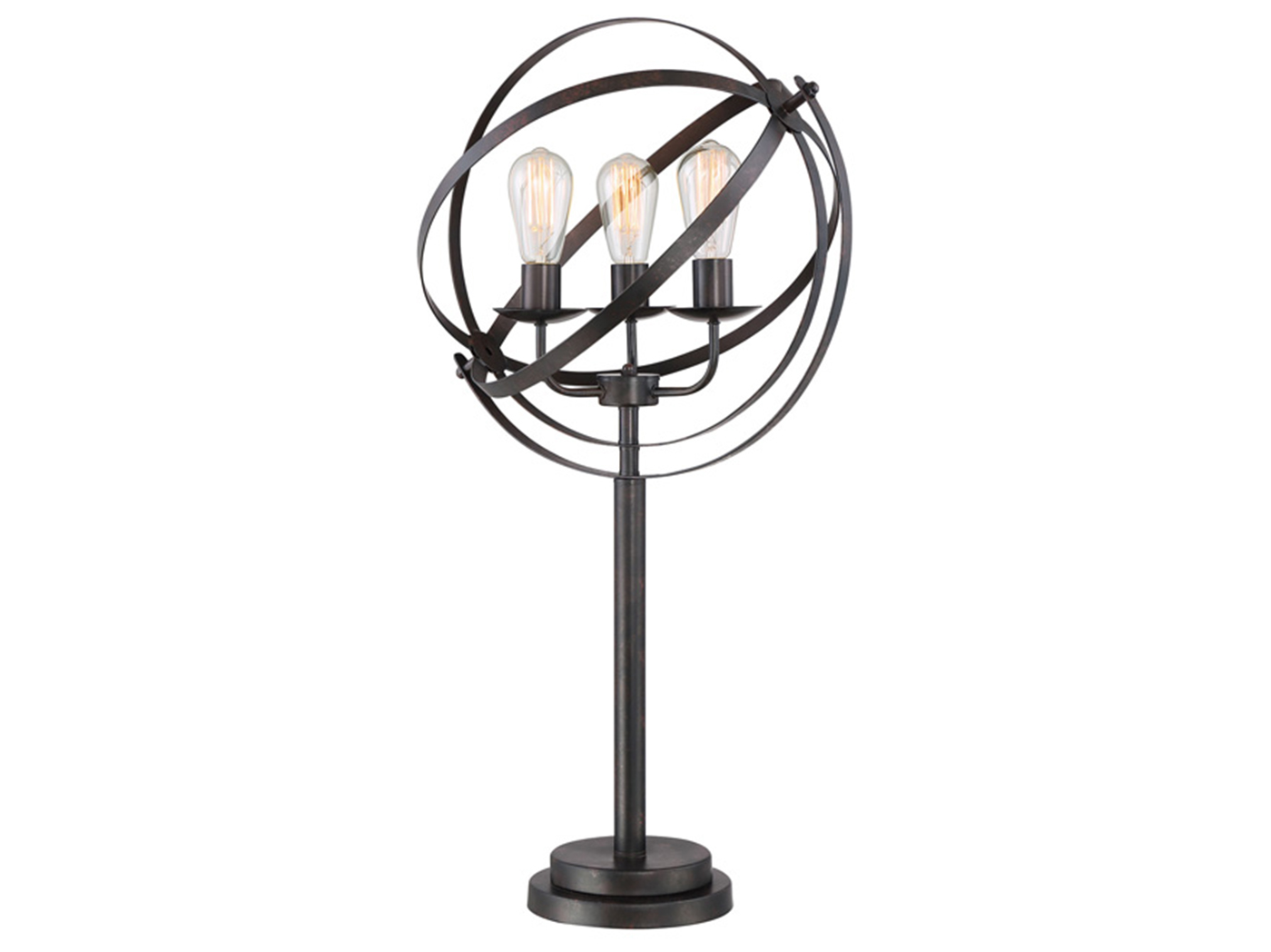 Black Metal Orb Shade Table Lamp 34 H With Vintage Bulbs