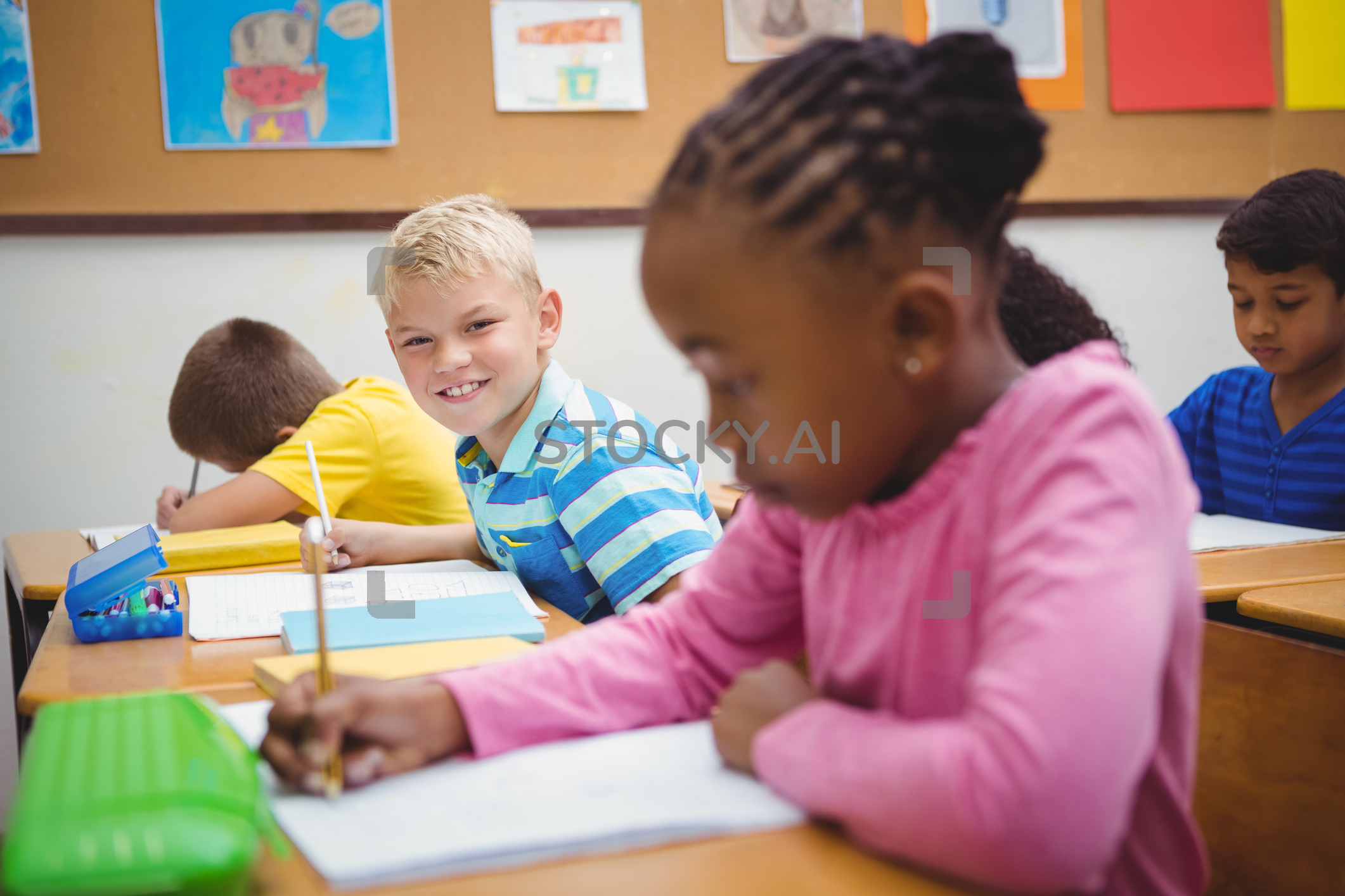 Image Of Busy Students Working On Class Work