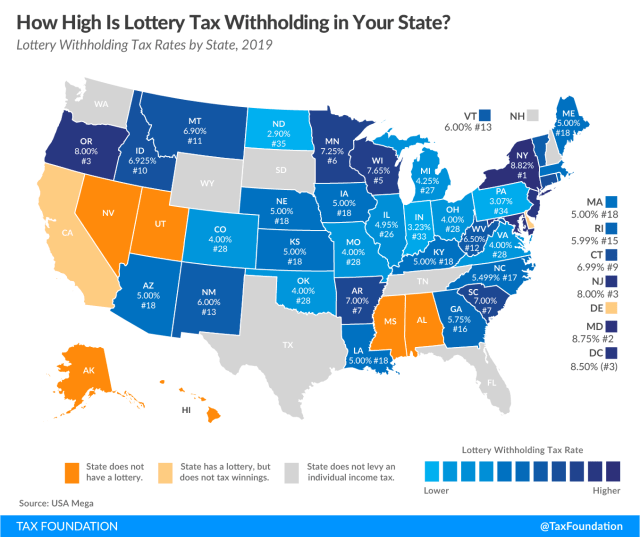 lottery tax withholding, lottery winnings withheld lottery tax rankings