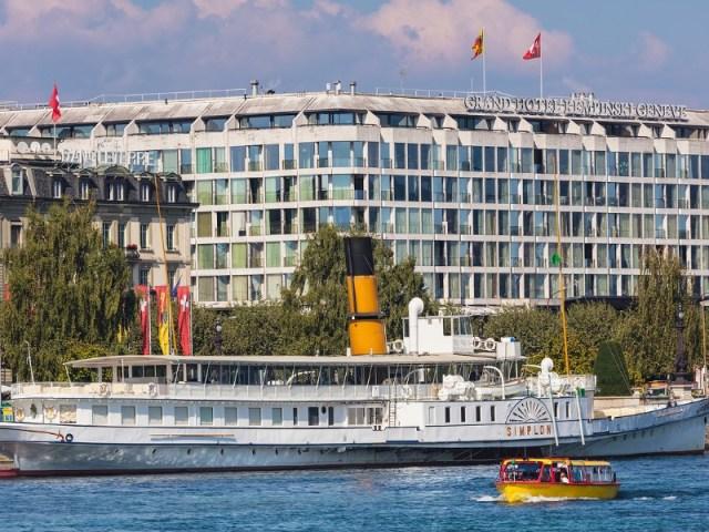 Buildings of the city of Geneva along Lake Geneva
