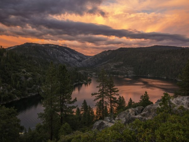 Pinecrest Lake, California at sunset