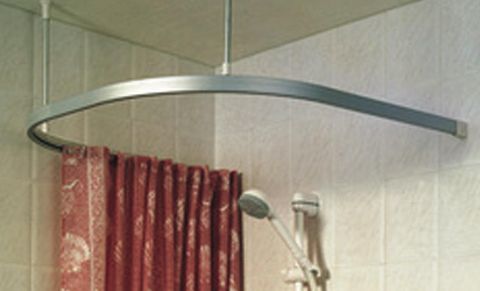 u shaped shower curtain track chrome