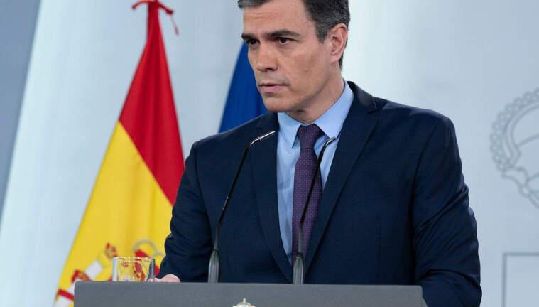 Pedro Sánchez, durant la roda de premsa del passat 18 d'abril