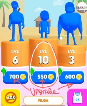 Upgrade Your Characters but start with the smallest character, Pusher 3d Tips, FILGA