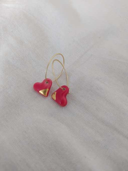 Corazon rojo ceramica lustre oro filigranaart