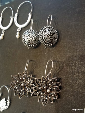 Button and flower earrings