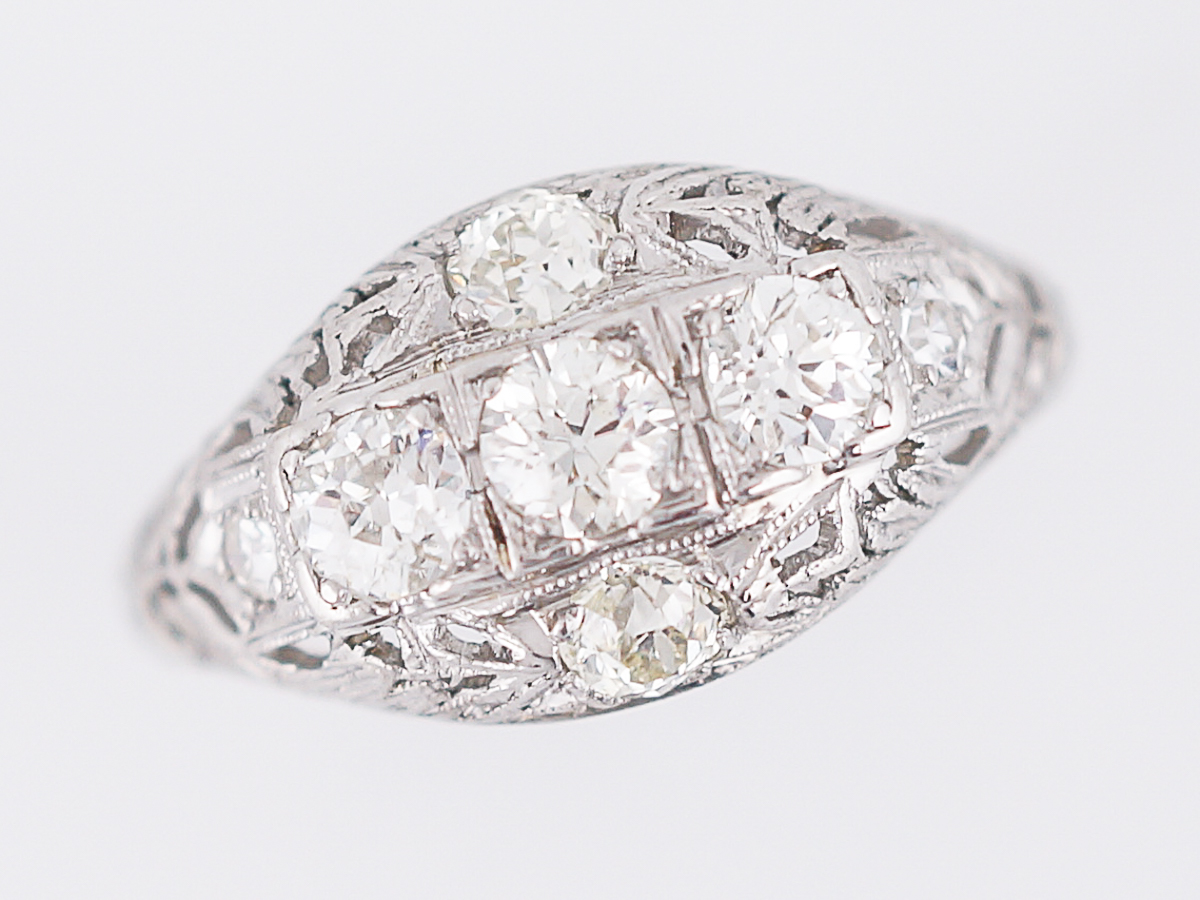 Antique Engagement Ring Edwardian 61 Old European Cut