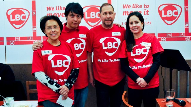 LBC President Raffy Policarpio (2nd from right), Brand Head Tricia Garcia (right), Bebe Marquez (left), Carlo Ferrer (2nd from left)