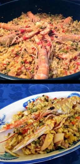 Spanish paella with Scampi, prawns, peas, peppers, saffron, squid and calamari
