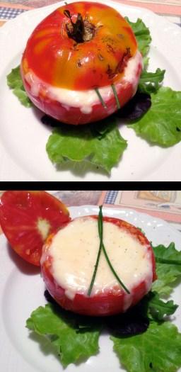 Stuffed Tomato with bread crumbs, tuna, anchovies and capers covered in mozzarella