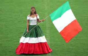 The Italian ball gown of fashion designer Offenborn is presented at stadium Lohmuele in Luebeck, Germany, 29 May 2012. Models presented the dresses designed in the national colours of the participating countries of the UEFA Euro 2012. Photo:Jens Buettner -ALLIANCE-INFOPHOTO