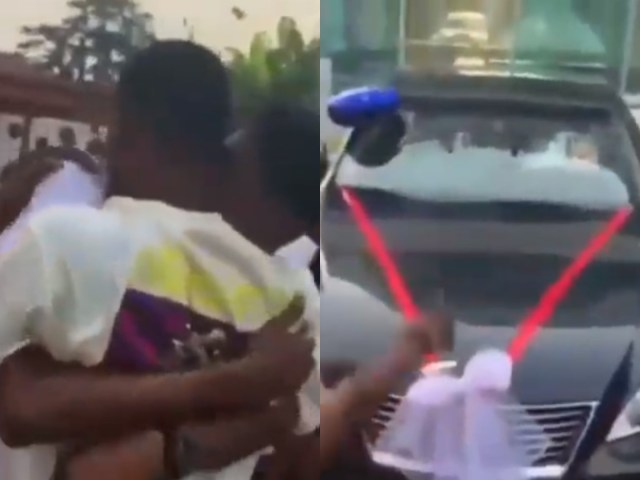 young man buys car for male friend