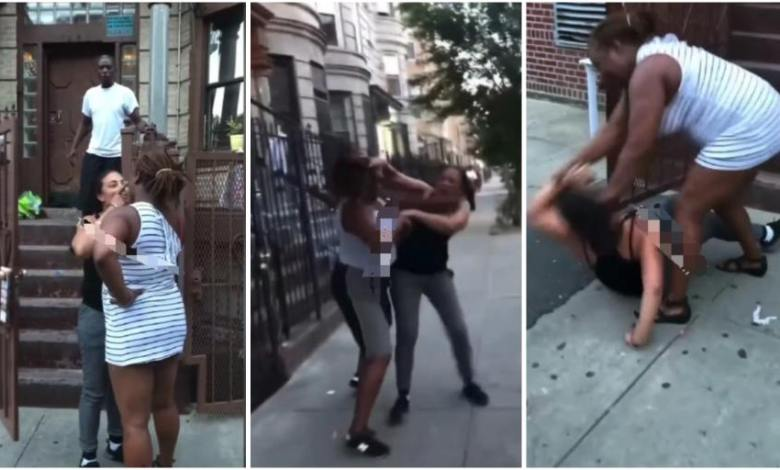 Lady-beats-her-lesbian-girlfriend-for-cheating-on-her-with-a-man