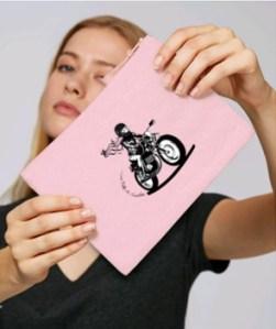 pochette moto femme rose