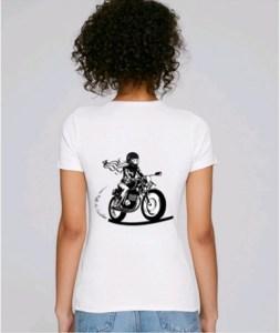tee shirt femme moto blanc fille au guidon