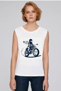 tee shirt motarde leger et resistant en modal blanc
