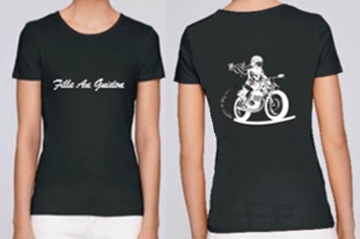 tee shirt noir fille au guidon