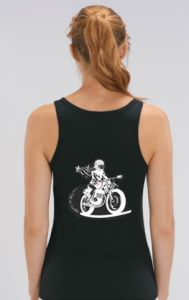 dos débardeur motarde noir fille au guidon