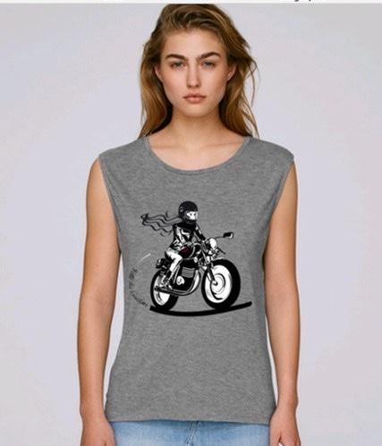tee shirt motarde fille au guidon du xs au xxl