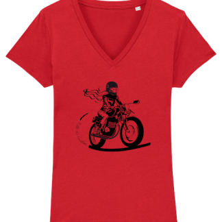 tee shirt motarde rouge fille au guidon