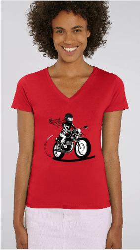 tee shirt motarde avec un col v en rouge gris ou blanc