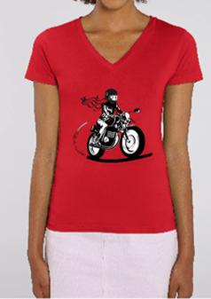 tee shirt motarde col V fille au guidon