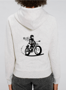sweat capuche motarde gris
