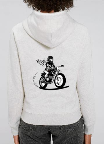 sweat capuche motarde gris