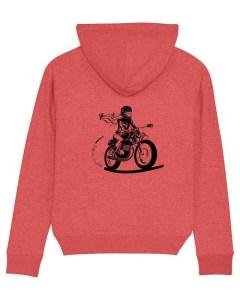 le sweat à capuche fille au guidon porte une motarde dans le dos