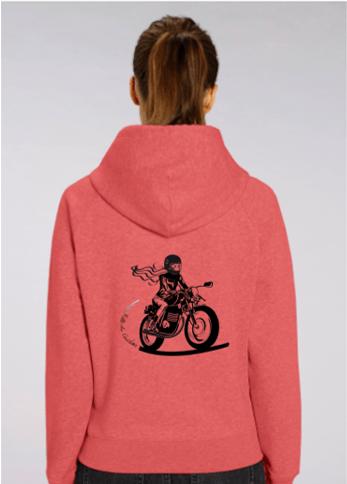 sweat à capuche motarde by fille au guidon