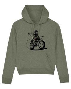 le sweat à capuche kaki porte la mascotte fille au guidon sur le devant pour els motardes qui veulent s'afficher