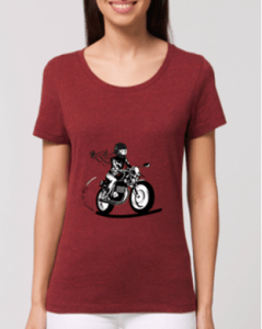 tee shirt motarde bordeaux fille au guidon