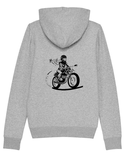 le sweat gris fille au guidon est un sweat à capuche zippé concu pour les motardes