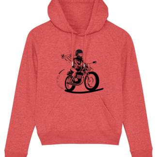 sweat à capuche femme moto corail