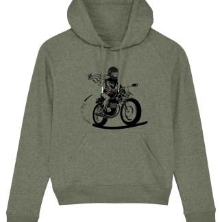 le sweat motarde kaki fille au guidon est un sweat feminin developpé pour les motardes