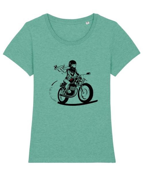 le tee shirt motarde bleu caraïbes Fille au guidon est d'une belle couleur bleu vert