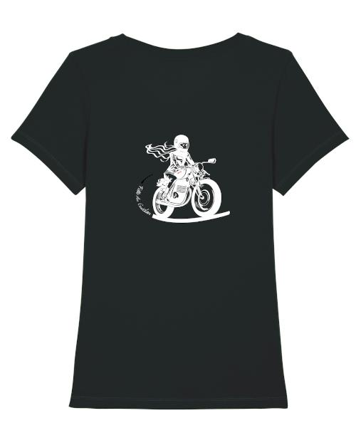 tshirt motarde noir fille au guidon