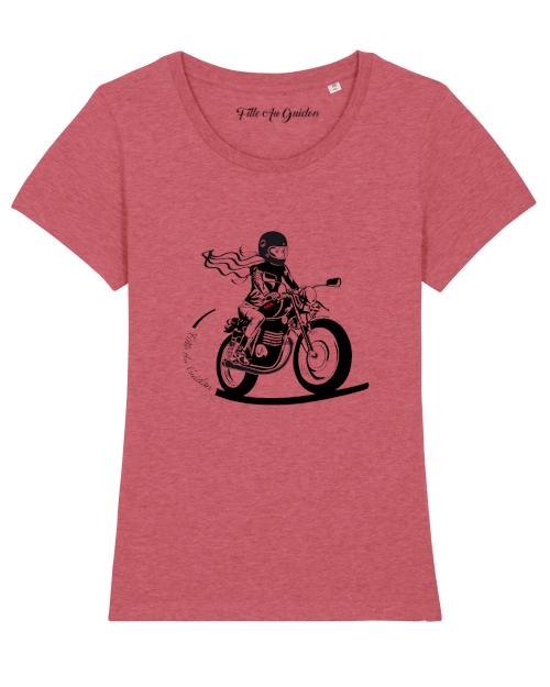 t-shirt motarde rose Fille Au Guidon