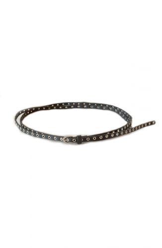 Lange zwarte riem met metalen ringen