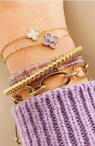 ZAG Bijoux Armband – Lila kraaltjes Goud