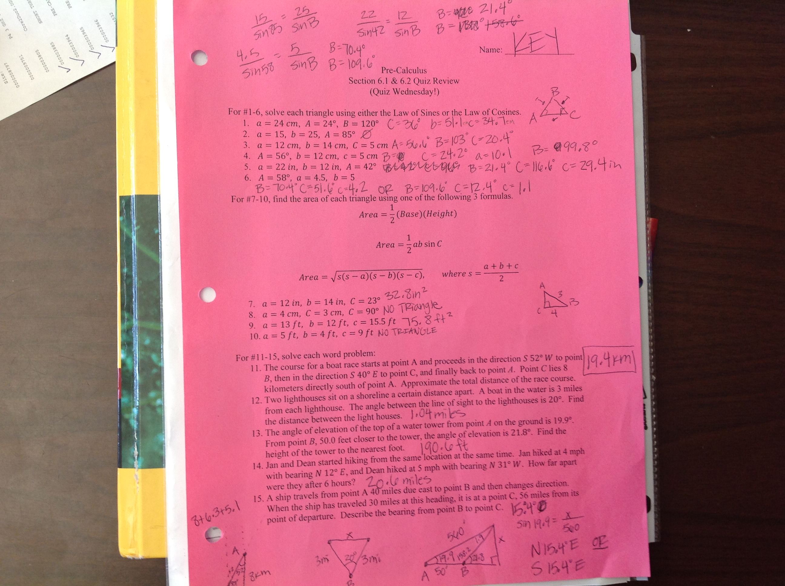 Precalculus Worksheets And Answer Keys