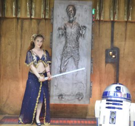 Satine from Moulin Rouge, posing with the Star Wars set