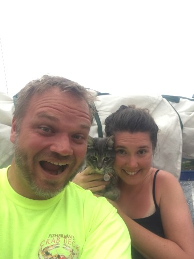 We made it through our first storm at anchor! You can tell the cat is thrilled.