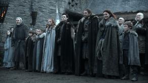 Sean Bean, Michele Fairley, Isaac Hempstead-Wright, Sophie Turner, Maisie Williams, Richard Madden, Art Parkinson, Game of Thrones, Winter is Coming, 01