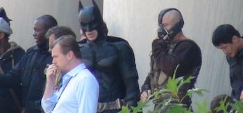 Christopher Nolan, Tom Hardy, Christian Bale, The Dark Knight Rises, Mellon Institute Set, 02