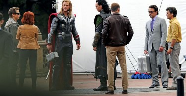 Chris Hemsworth, Jeremy Renner, Scarlett Johansson, Robert Downey Jr, Chris Evans, Mark Ruffalo, Tom Hiddleston, The Avengers 2012, set, 01